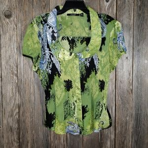 Essentials Milano Green Black Crinkle Blouse Top